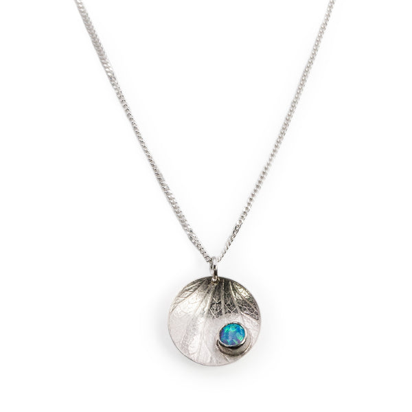 Sterling silver Dewdrop pendant with blue opal stone by Rouaida.