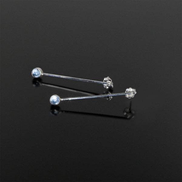 Drop in the Ocean earrings with aquamarine stones by Rouaida.
