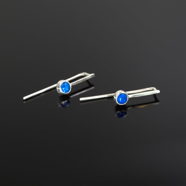 Sterling silver Echo earrings with lapis lazuli stones by Rouaida.
