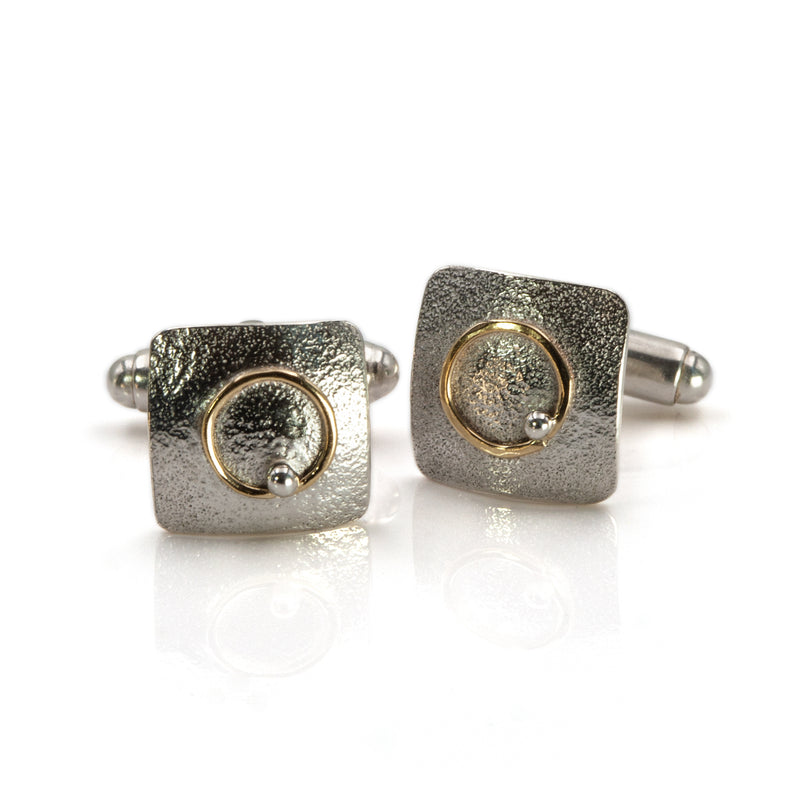 Hand-made sterling silver and 18ct gold Electron cufflinks by Rouaida.