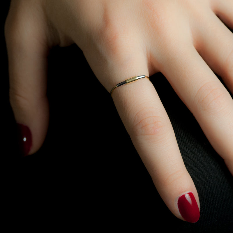 Concentric ring in sterling silver and 18ct gold on model's hand