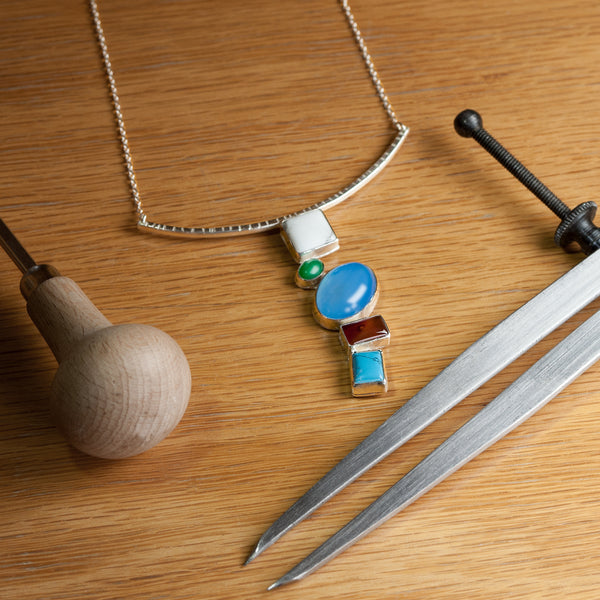 The Mosaic necklace from Rouaida is handmade using traditional tools and artisan skills.