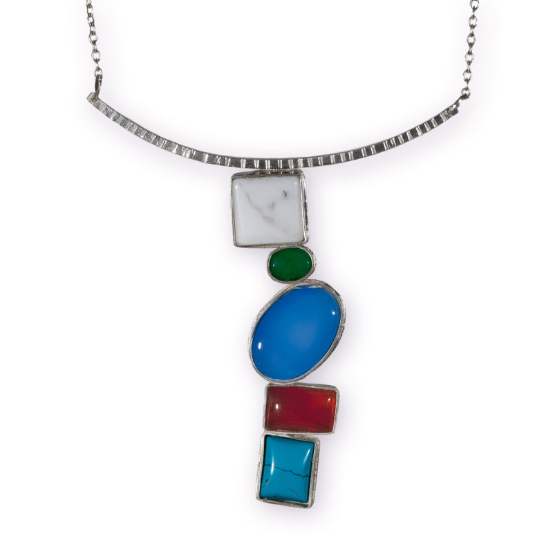 Mosaic necklace with carnelian, turquoise, aventurine and blue chalcedony stones.