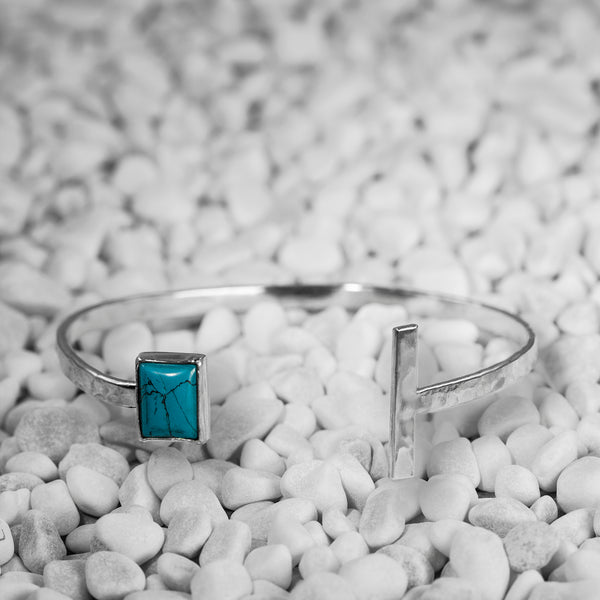 Neptune cuff bracelet in Argentium silver and turquoise by Rouaida.