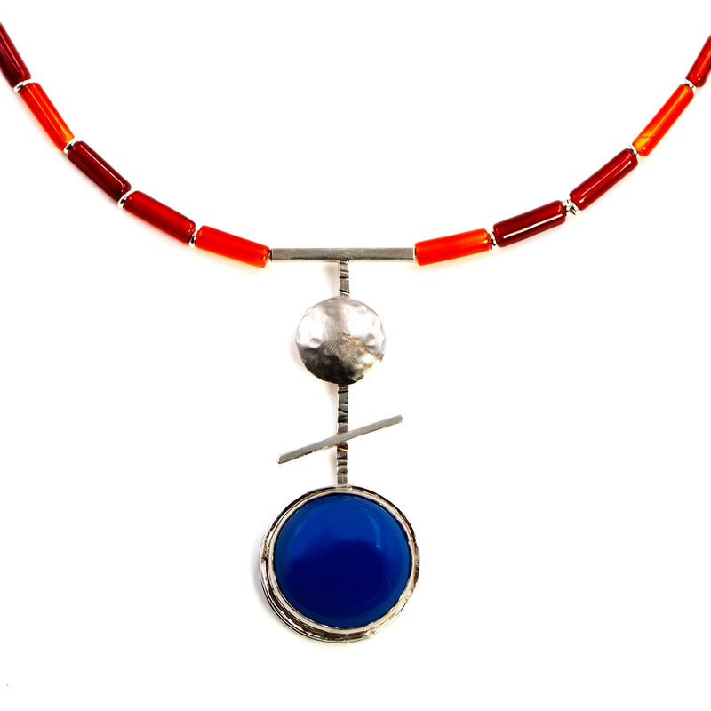 Orb necklace with blue agate by Rouaida.
