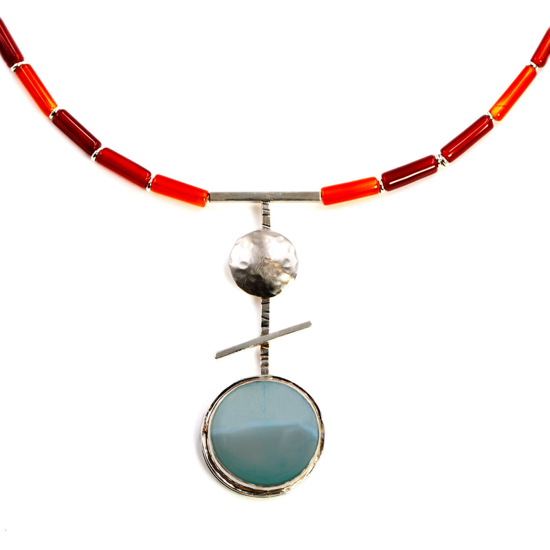 Orb necklace with veined light blue agate by Rouaida.
