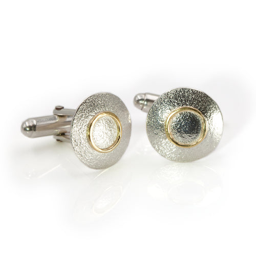 Orbit cufflinks in sterling silver and 18ct gold by Rouaida.