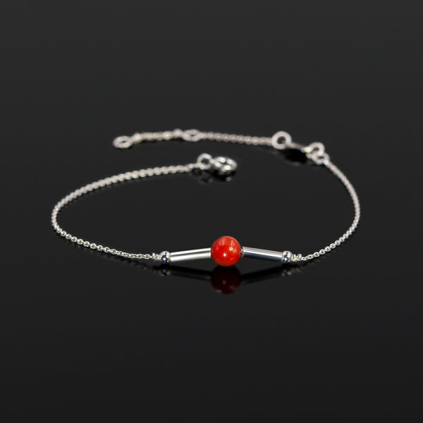 Sterling silver Reef bracelet with coral accent by Rouaida.