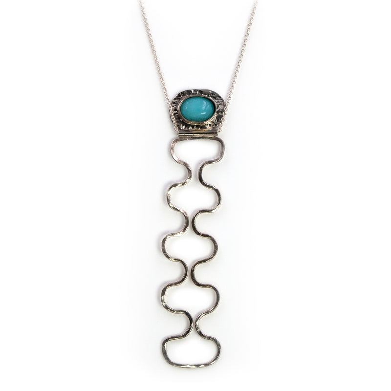 Sterling silver Ripple necklace with amazonite stone by Rouaida.