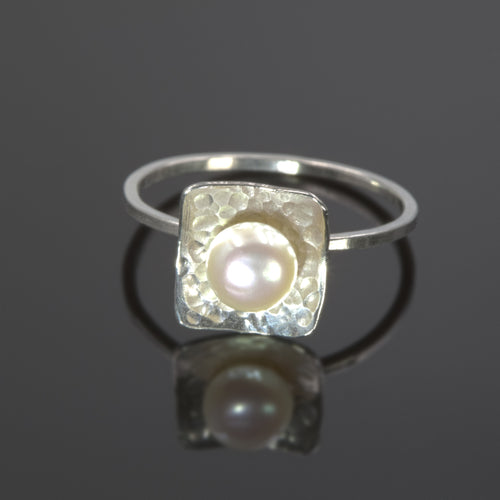 Sterling silver Treasure Trove ring with freshwater pearl by Rouaida.