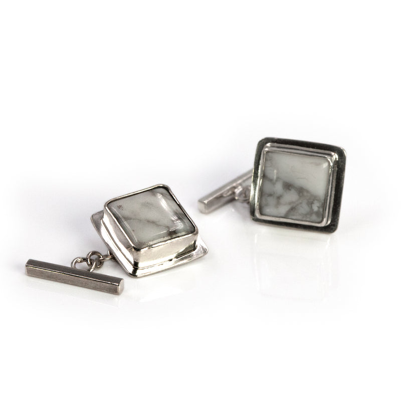 Sterling silver Triumph cufflinks with howlite stones by Rouaida.