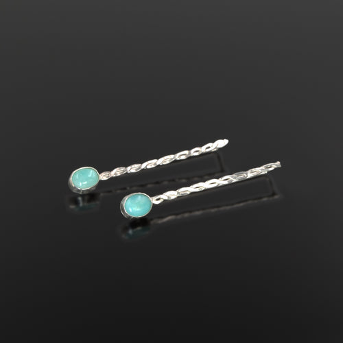 Athena earrings in sterling silver with amazonite stones by Rouaida.