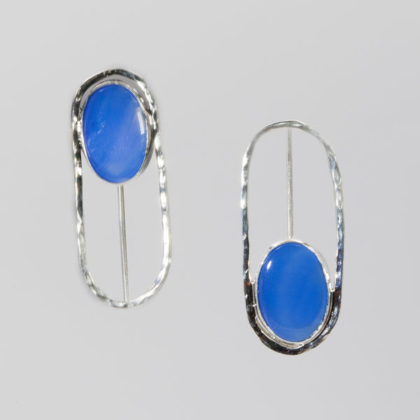 Sterling silver Vice versa earrings with blue chalcedony stones by Rouaida.