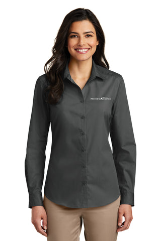 Ladies Long Sleeve Carefree Poplin Shirt. PA Logo