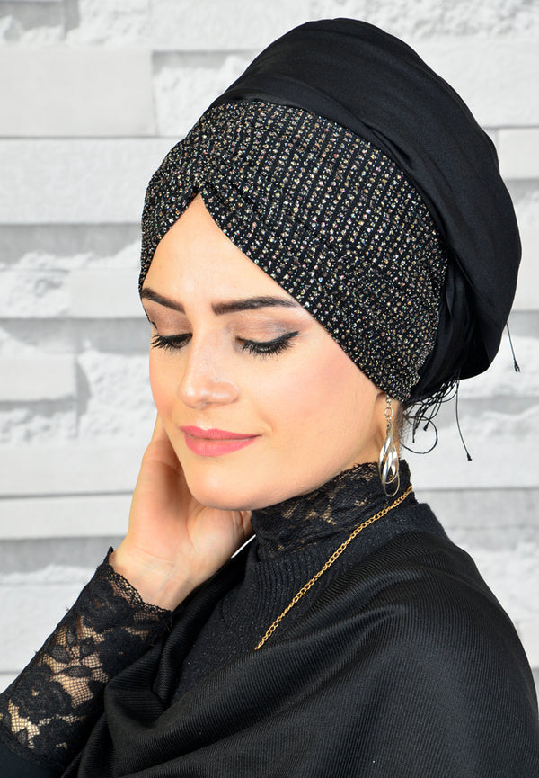 Black - Silvery Detail - Chain Design - Bandana Shawl - Guzz