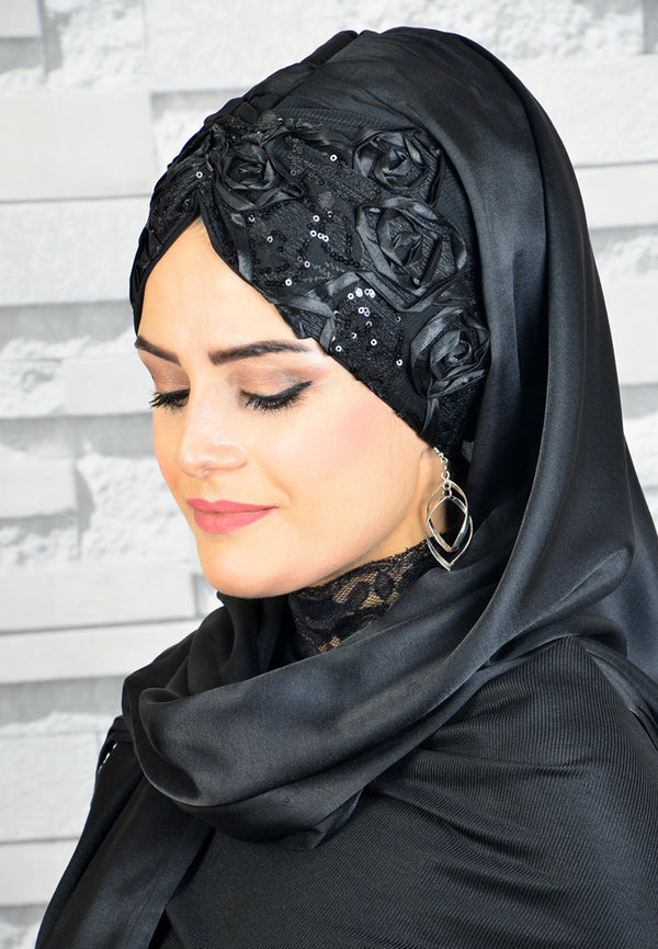 Black - Black Flower Detail - Chain Design - Bandana Shawl - Guzz