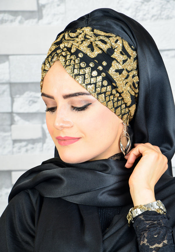 Black - Gold Stamp Plaque Detail - Chain Design - Bandana Shawl - Guzz