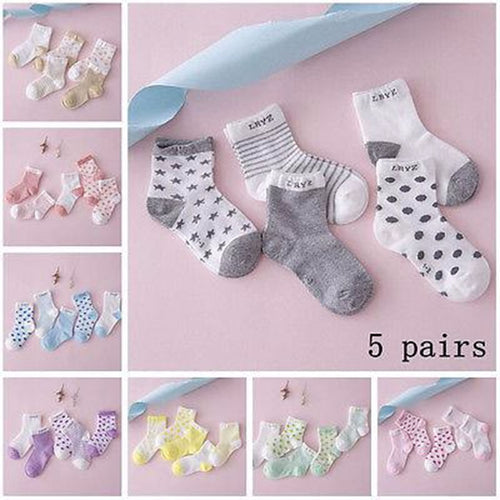 5 Pairs Baby Boy Girl Cotton Cartoon Socks
