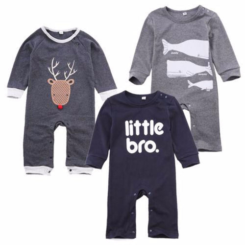 Infant Baby Toddler Long Sleeve Deer Fish Romper
