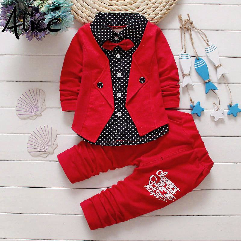 Kids Boys Button Letter Bow Suit