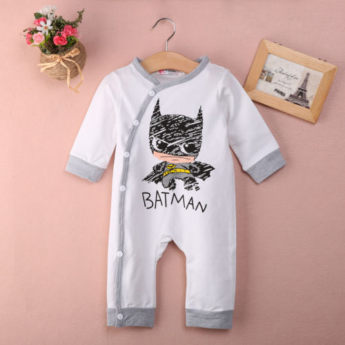 2018 Hot Baby Rompers Newborn Babe Girls Boy Batman Long Sleeve Jumpsuits Cotton Baby Rompers 0-12M - flybabywear
