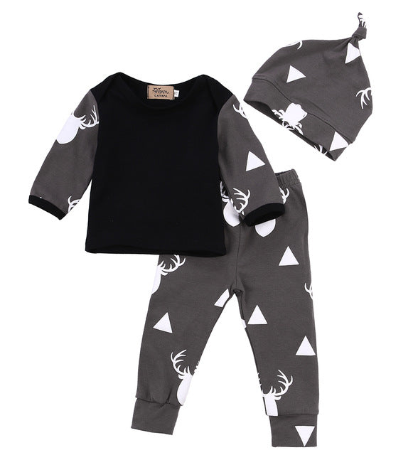 Cute Infant Baby Girl Boy Clothes Deer Tops T-shirt+Pants Leggings Hat 3pcs Outfits Kids Clothing Set 0-24M - flybabywear