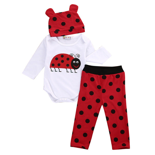Cute Baby Boy Girl Clothes Newborn Long Sleeve Cotton Animal Bodysuit Romper Pant Hat 3pcs Outfit Infant Bebek Clothing Set - flybabywear