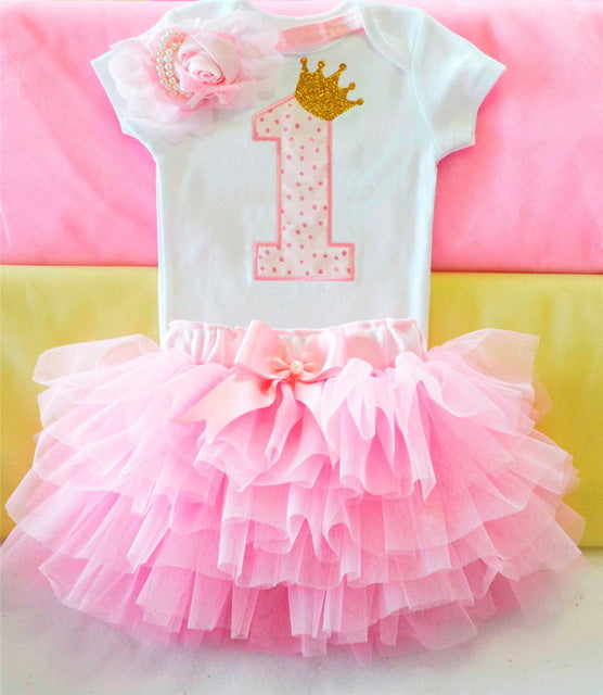 Ai Meng Baby Girl Clothes 1st Birthday Cake Smash Outfits Infant Clothing Sets Romper+Tutu Skirt+Flower Cap Newborn Baby Suits - flybabywear