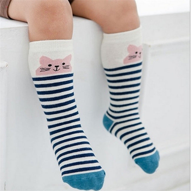 Newborn Kids Girl Boy Animal Pattern Anti-slip Knee High Sock Baby Socks fox Cat Cotton Cute Cartoon infant Toddler - flybabywear