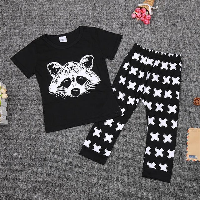TANGUOANT Baby Boys Clothing Sets Baby Girls Boys Fox Cotton Tops T-shirt+Pants Leggings 2pcs Outfits Set Costume Boys Clothes - flybabywear