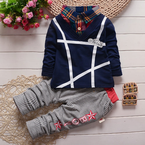 2018 Autumn style infant clothes baby clothing sets boy Cotton lattice Top  + pants 2pcs suit baby boy clothes newborn - flybabywear