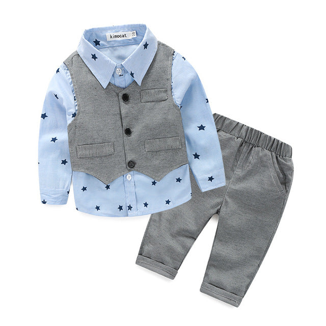 [Lucky& Lucky] new style newborn baby gentlemen boy 3pcs/set clothing set shirt+vest+casual pants quality baby clothes - flybabywear