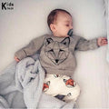 RY-166 New style cotton newborn set cartoon fox printed baby costume spring autumn t-shirt+ pants 2 pcs clothes for bebes 2018 - flybabywear