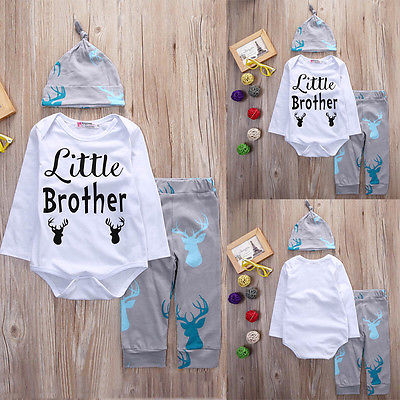 Fashion Baby Deer Clothing Newborn Baby Boys Little Brother Rompers Tops Long Pants Hat Outfits Set Kids Clothes Winter