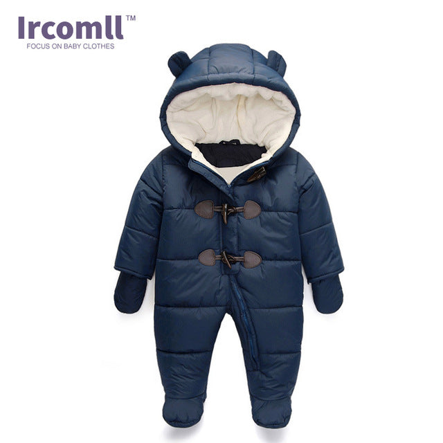 lrcoml Keep Thick warm Infant baby rompers Winter clothes Newborn Baby Boy Girl Romper Jumpsuit Hooded  Kid Outerwear  For 0-24M - flybabywear