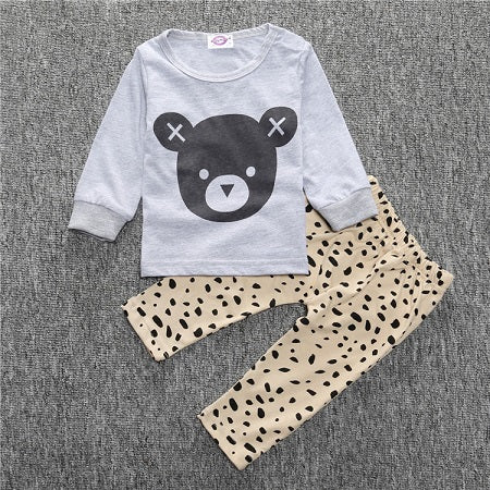 ST205  2017 Newborn baby boy clothes baby clothes unisex yellow  color long-sleeved shirt+ pants 2 pcs. bebe girl clothing set - flybabywear