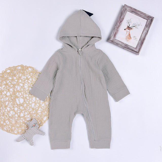 Cartoon Dinosaur Design Hooded Baby Rompers Newborn Clothing Cotton Long Sleeve Jumpsuits Boys Girls Outerwear Costume Baby Gift - flybabywear