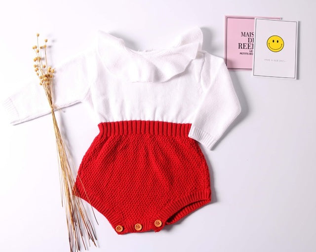 Baby Girls Long Sleeve Jumpsuits Baby Boys Infant Rompers Ruffles Princess Girl Sweet Knitted Overalls Infant Romper 70-100cm - flybabywear