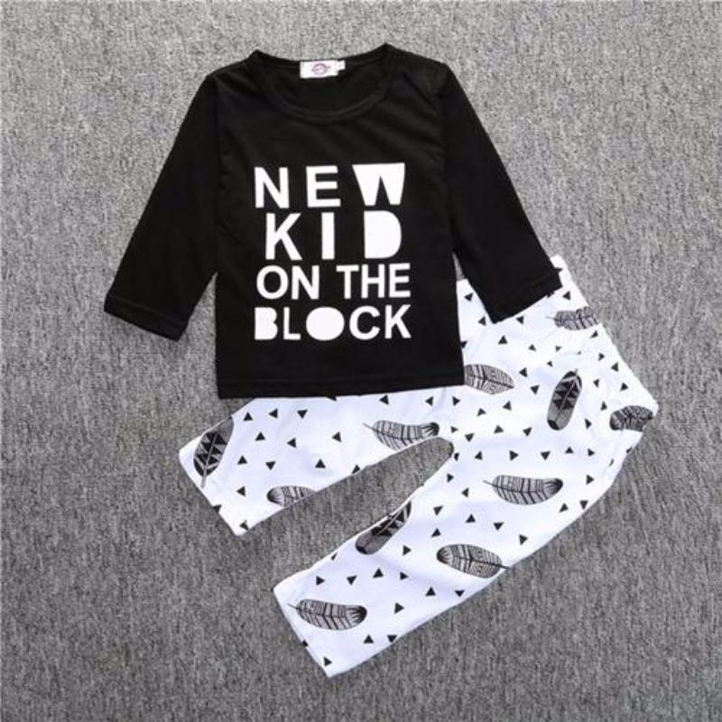 2017 Hot Sale Baby Clothing Sets Cotton Full T Shirt Pant Spring