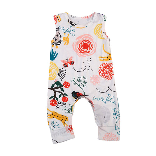 Toddler Kid Baby Boy Girl Animal Clothes Sleeveless Floral Jumpsuit Romper Sunsuit Outfit - flybabywear