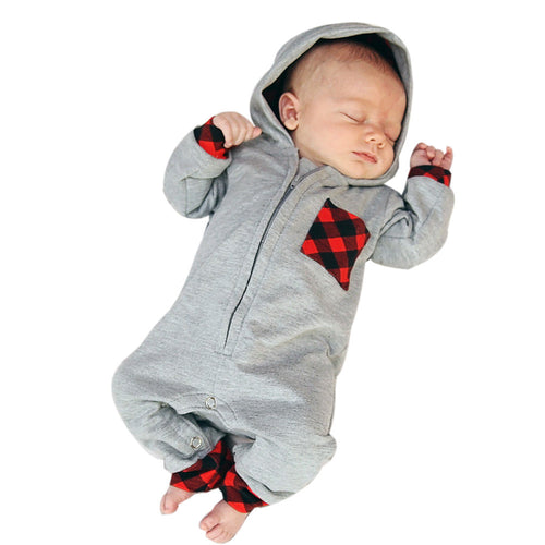 e6b61aa6283d4 2018 New Fashion Newborn Baby Boy Girl Clothes Zipper Hooded Romper Gary  Plaid Rompers Jumpsuit One