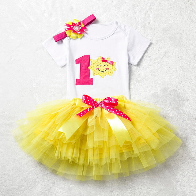 ce21bd0bbdc Ai Meng Baby Girl Clothes 1st Birthday Cake Smash Outfits Infant Clothing  Sets Romper+Tutu Skirt+Flower Cap Newborn Baby Suits