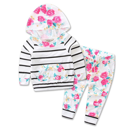 Baby Grils Boys Suits Clothes 2017 Spring/Autumn 100% Cotton Striped Baby Girls Set Children Clothing Sets Girls Clothes 3M-24M - flybabywear