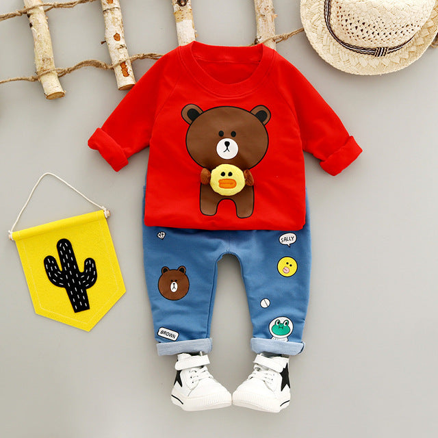 Cartoon Kids T Shirt Red