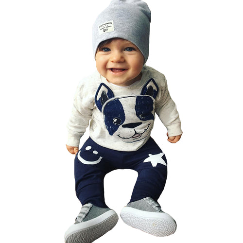 Baby Boy Clothing Set Christmas Animal Dog Kids Infant Clothes Autumn Cartoon T-shirt+Star Smile Face Pants Girl Clothing Sets - flybabywear