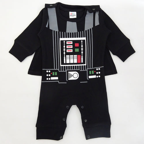 Baby Boy Darth Vader Costume Romper Infant Star War Jumpsuit Toddler Clothes Set With Cape Clothing New Year Costume For Newborn - flybabywear