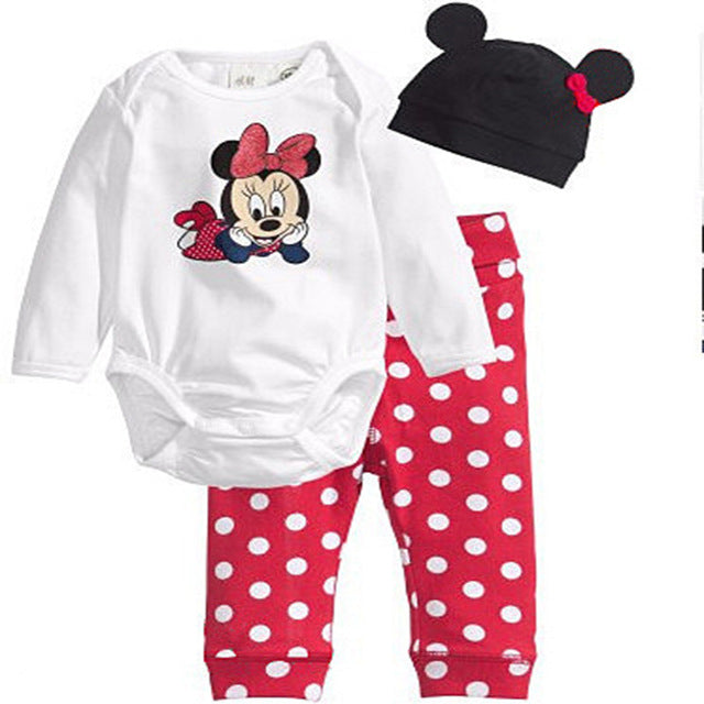 Baby Rompes 3pcs Baby Boy Clothing Set  Spring Baby Girl Clothing Set Cotton Newborn Baby Clothes Romper Bebe Mickey Home Style - flybabywear