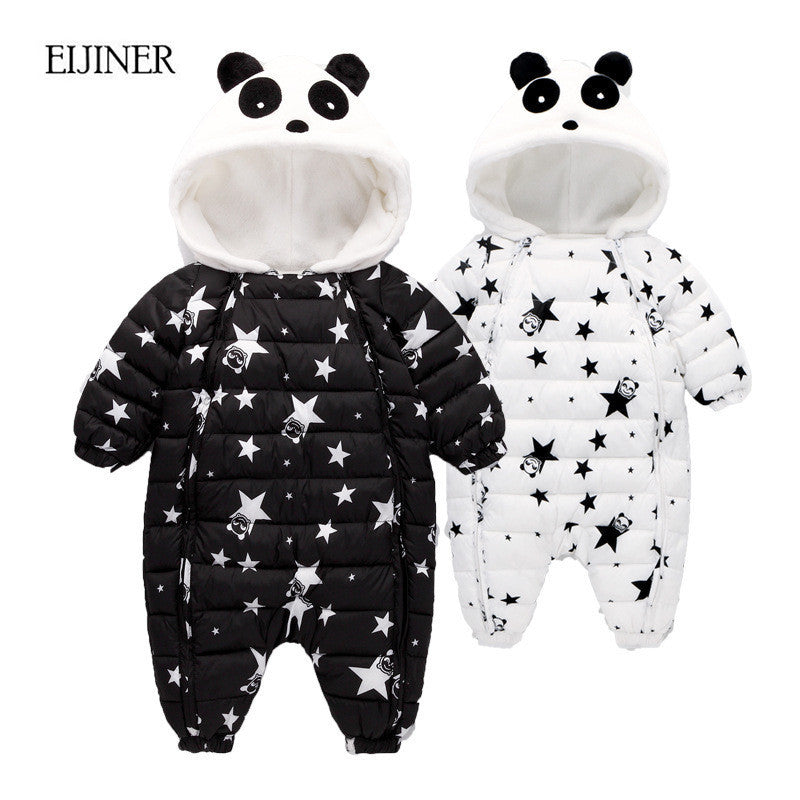 2018 Winter Newborn Baby Clothes Hooded Infant Baby Rompers Boy and Girl Long Sleeve Winter Romper Overalls Baby Clothing Set - flybabywear