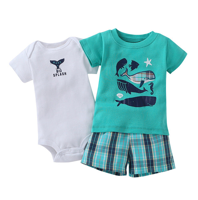 Hot! high quality Teamsters baby boy & girl clothing set short T-shirt + shorts or + romper 3 pcs Set baby clothes - flybabywear