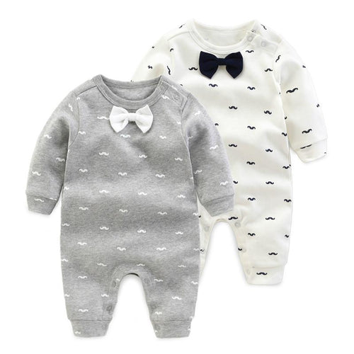 2018 spring - Autumn baby boy clothing Cotton Long Sleeved baby boy clothes ,cartoon Beard Gentleman baby romper Infantil babies - flybabywear